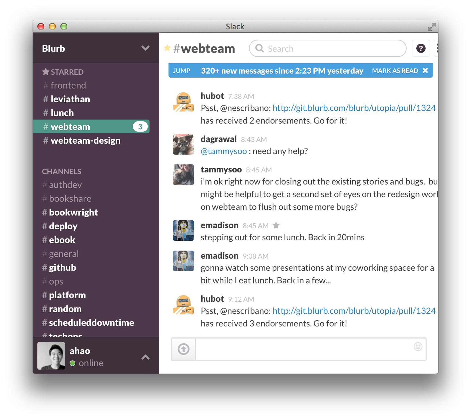 Slack chat #dayinthelife
